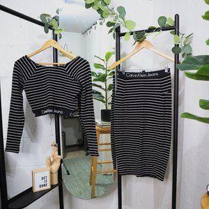 Calvin Klein Striped L/S Crop Top & Midi Skirt Set